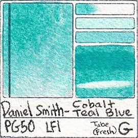 PG50 Daniel Smith Watercolor Cobalt Teal Blue PG50 Pigment Database Swatch Card