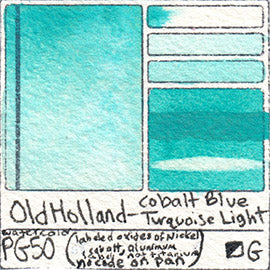 PG50 Old Holland Classic Watercolor Cobalt Blue Turquoise Light pigment swatch database card color separation swatch