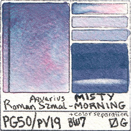 PG50 PV19 Roman Szmal Aquarius Watercolor Misty Morning Color Swatch Granulating