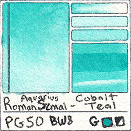 PG50 Roman Szmal Aquarius Watercolor Cobalt Teal PG50 Pigment Database Swatch Card