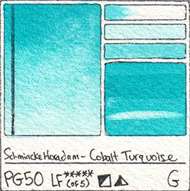PG50 Schmincke Horadam Cobalt Turquoise Watercolor Swatch Card Color Chart