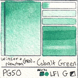 PG50 Winsor and Newton Professional Cobalt Green Watercolor Swatch Card Color Chart