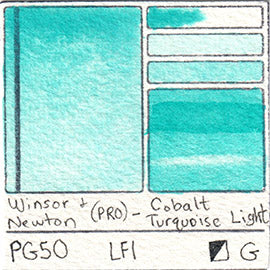 PG50 Winsor and Newton Professional Cobalt Turquoise Light Watercolor Swatch Card Color Chart