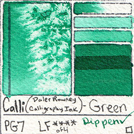 PG7 Calli Daler Rowney CALLIGRAPHY INK Green pigment dip pen swatch card color colour database