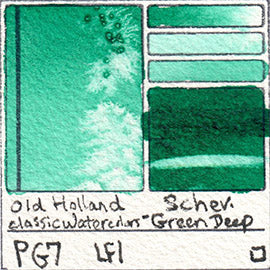 PG7 Old Holland Classic Watercolors Schev Green Deep pigment swatch rare mineral paint art professional