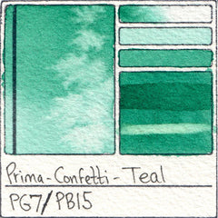 PG7 PB15 Prima Art Philosophy Confetti Teal Watercolor Swatch Card Color Chart