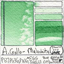 PG7 PG36 PW6 Egg Shells A Gallo Malachite hue water color pigment database swatch test card light fast