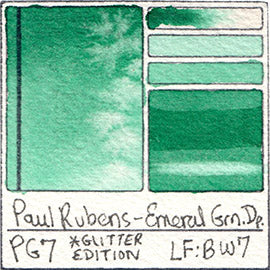 PG7 Paul Rubens Hint of Glitter Pan Set Watercolor Emerald Green Deep Swatch Card Color Chart