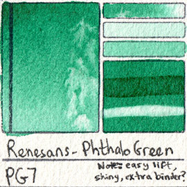 PG7 Renesans Watercolor Phthalo Green Easy Lift non staining pigment honey