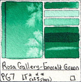 PG7 Rosa Gallery Watercolor Emerald Green Pigment Database Color Chart Swatch Card