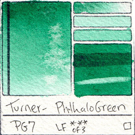 PG7 Turner Watercolor Phthalo Green Color Art Pigment Database Swatch Card
