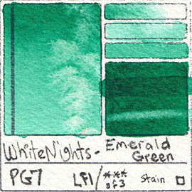PG7 White Nights Emerald Green water color pigment database swatch test card light fast