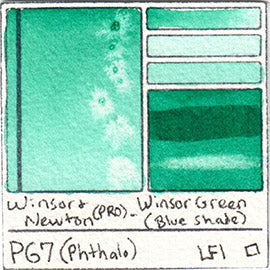 PG7 Winsor and Newton Professional Winsor Green BS Watercolor Swatch Card Color Chart
