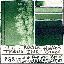 PG8 Holbein Acrylic Ink Hooker's Green texture diluted masstone glazed dip pen writing swatch card
