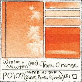 PO107 Winsor and Newton Professional Transparent Orange Watercolor Swatch Card