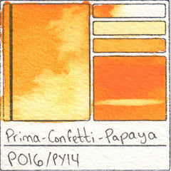 PO16 PY14 Prima Art Philosophy Confetti Papaya Watercolor Swatch Card Color Chart
