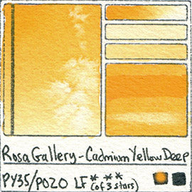 PO20 PY35 Rosa Gallery Watercolor Cadmium Yellow Deep Handprint Pigment Swatch Color Chart