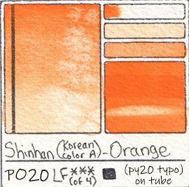 PO20 Shinhan Korean Color A Orange Watercolor Swatch Card Color Chart