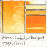 PY47 Prima Art Philosophy Confetti Marigold Watercolor Swatch Card Color Chart