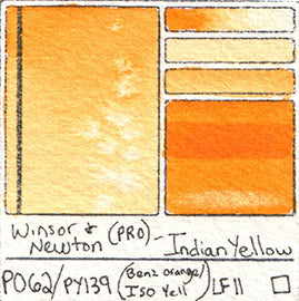 PO62 PY139 Winsor and Newton Professional Watercolor Indian Yellow Swatch Card Database Handprint Jane Blundell Art of Pigment