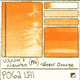 PO62 Winsor and Newton Professional Winsor Orange Watercolor Swatch Card