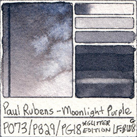 PO73 PB29 PG18 Paul Rubens Hint of Glitter Pan Set Watercolor Moonlight Purple Swatch Card Color Chart