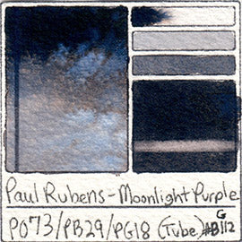 PO73 PB29 PG18 Paul Rubens Tube Watercolor Royal Purple Swatch Card Color Chart