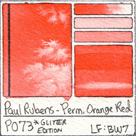 PO73 Paul Rubens Hint of Glitter Pan Set Watercolor Permanent Orange Red Swatch Card Color Chart