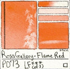 PO73 Rosa Gallery Flame Red Watercolor Paint Pigment Database Handprint Color Chart