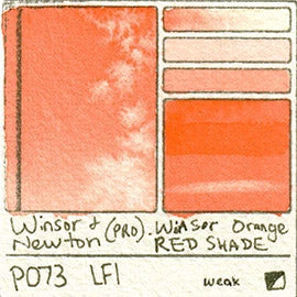PO73 Winsor and Newton Professional Winsor Orange Red Shade Watercolor Swatch Card