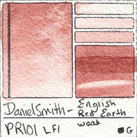 PR101 Daniel Smith Watercolor English Red Earth pigment granulating awesome swatch card color colour database