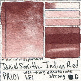 PR101 Daniel Smith Watercolor Indian Red pigment granulating awesome swatch card color colour database