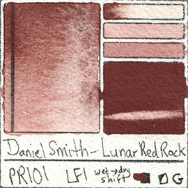 PR101 Daniel Smith Watercolor Lunar Red Rock Color Pigment Granulating Swatch Database Card