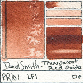 PR101 Daniel Smith Watercolor Transparent Red Oxide swatch pigment granulating vibrant