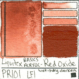 PR101 Liquitex Basics Acrylic Red Oxide color separating granulating pigment shimmer metallic