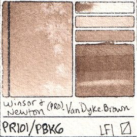 PR101 PBk6 Winsor and Newton Professional Van Dyke Brown Watercolor Swatch Card Color Chart