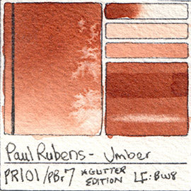 PR101 PBr7 Paul Rubens Hint of Glitter Pan Set Watercolor Umber Swatch Card Color Chart