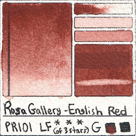 PR101 Rosa Gallery Watercolor English Red Iron Oxide Indian Handprint Pigment Swatch Color Chart
