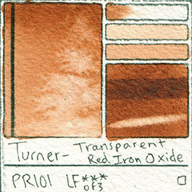 PR101 Turner Watercolor Transparent Red Iron Oxide Color Art Pigment Database Swatch Card