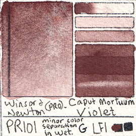 PR101 Winsor and Newton Professional Caput Mortuum Violet Watercolor Swatch Card Color Chart