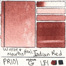 PR101 Winsor and Newton Professional Indian Red Watercolor Swatch Card Color Chart