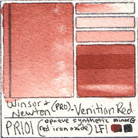 PR101 Winsor and Newton Professional Venitian Red Watercolor Swatch Card Color Chart