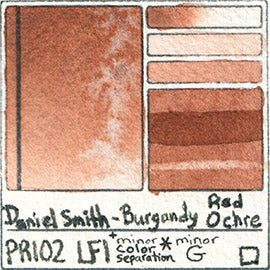 PR102 Daniel Smith Watercolor Burgundy Red Ochre Pigment Swatch Database Card