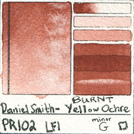 PR102 Daniel Smith Watercolor Burnt Yellow Ochre Pigment Swatch Database Card