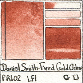 PR102 Daniel Smith Watercolor Fired Gold Ochre Pigment Swatch Database Card