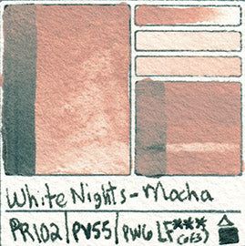 PY42 PBK8 PW6 PETERSBURG OCHRE WHITE NIGHTS WATERCOLOR PAINT PIGMENT SWATCH CARD