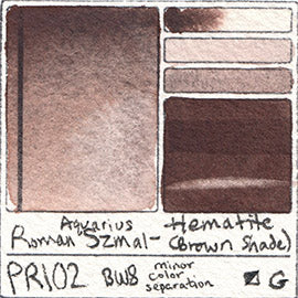 PR102 Roman Szmal Aquarius Watercolor Hematite Brown Shade Color Swatch Granulating