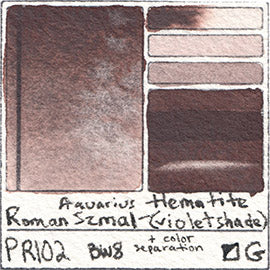 PR102 Roman Szmal Aquarius Watercolor Hematite Violet Shade Color Swatch Granulating