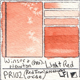 PR102 Winsor and Newton Professional Light Red Watercolor Swatch Card Color Chart
