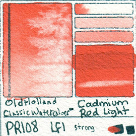 PR108 Old Holland Classic Watercolors Cadmium Red Light pigment swatch rare mineral paint art professional